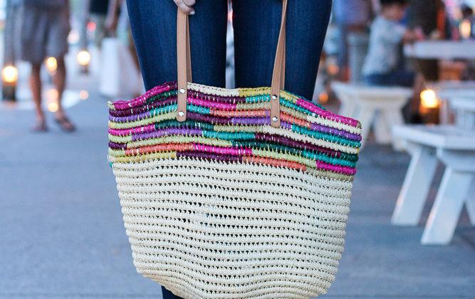 A Colorful Straw Tote to Wear From Beach to Daytime