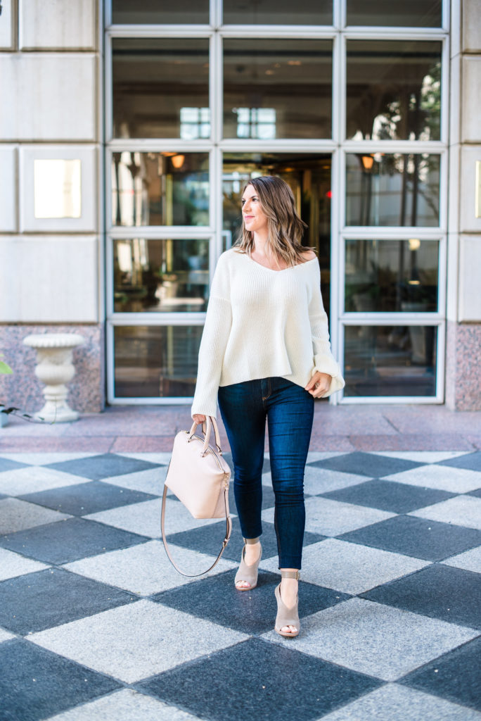 Topshop Lattice Back White Ivory Bell Sleeve Sweater Rag and Bone High Waist Jeans Tory Burch Frieda Satchel