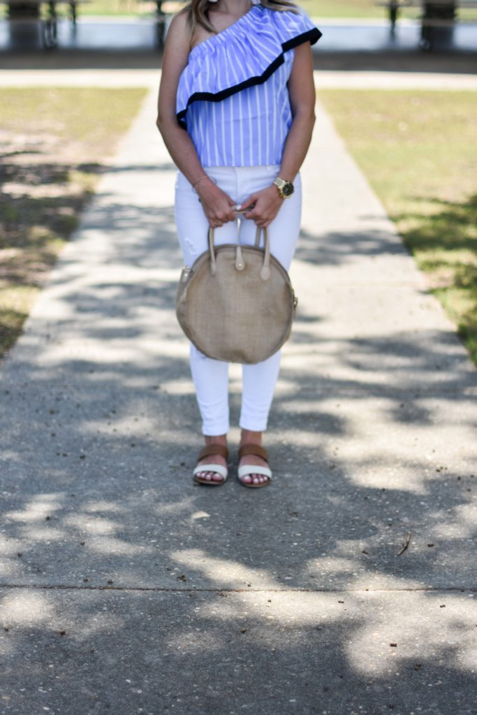 Blue white striped one shoulder ruffle top