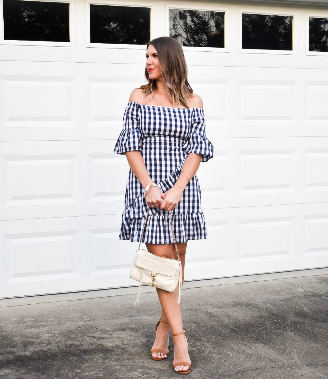 58d090c1d3 How to Shop Shein: Gingham Ruffle Off The Shoulder Dress