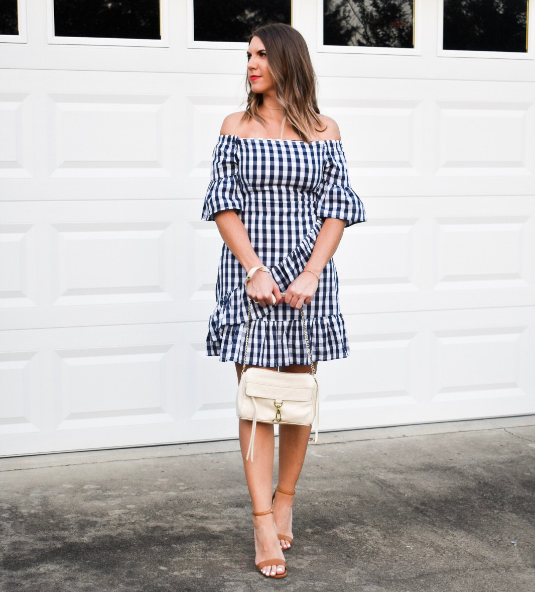 gingham ruffle off the shoulder bell sleeve dress