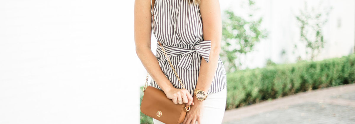 Striped Bow Top For Summer