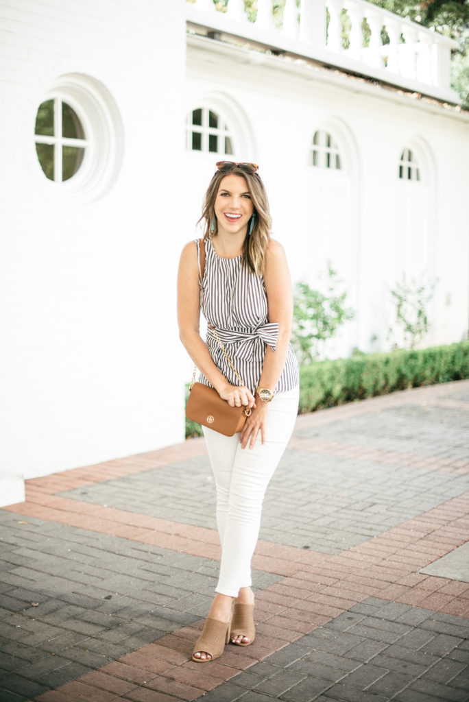 Striped bow top with white jeans