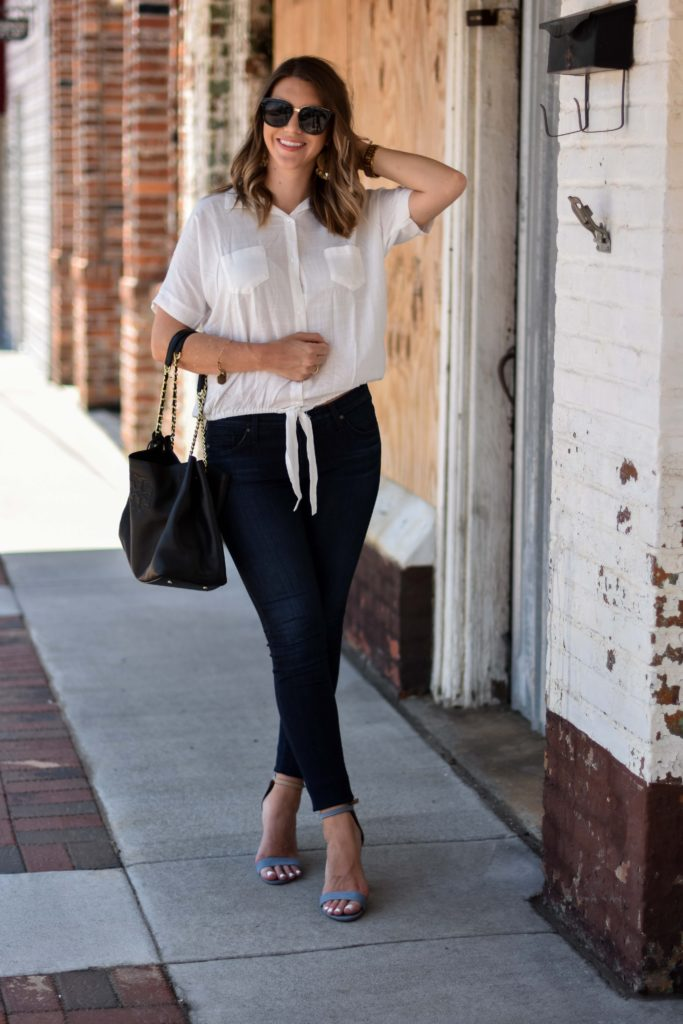 Summer White Tie-up top with AG Jeans and Tory Burch Thea Bag