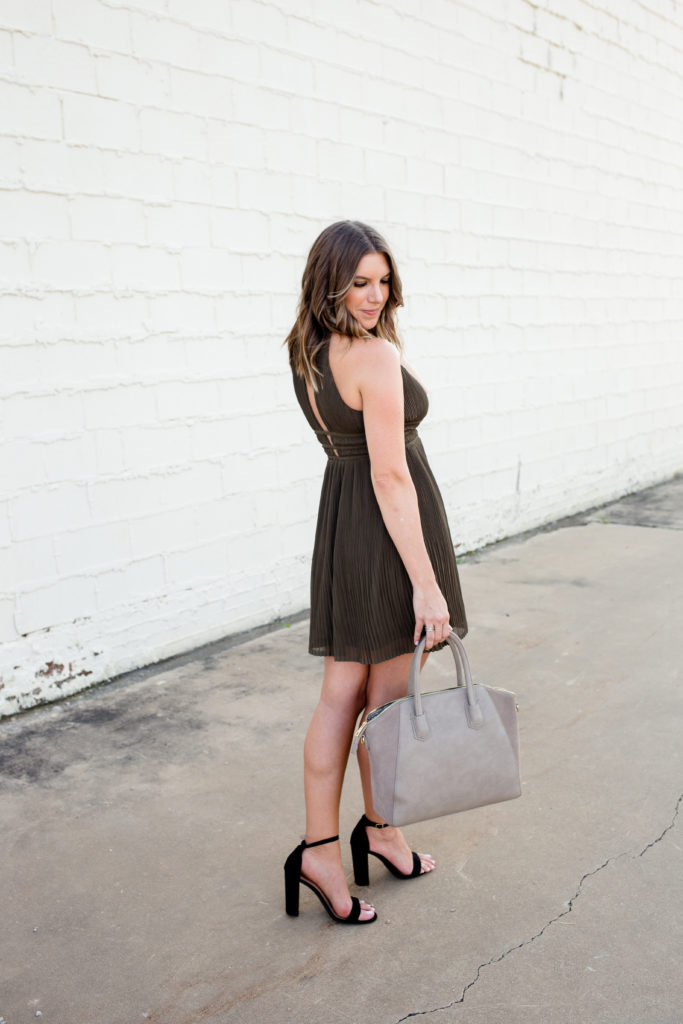 Olive green pleated dress