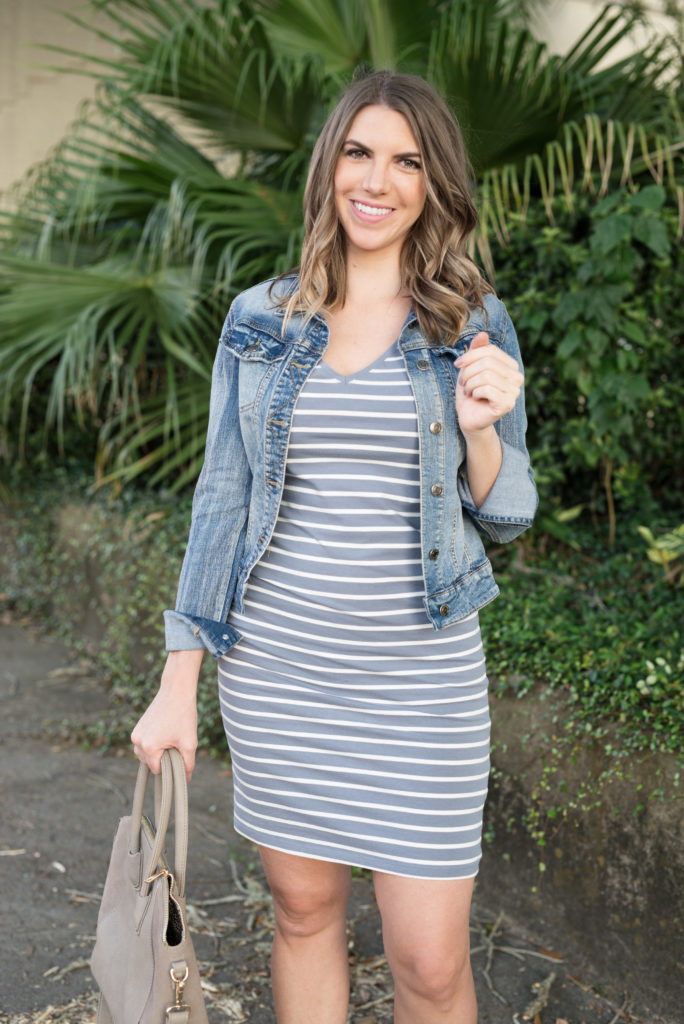 Shirt Dress With Denim Jacket