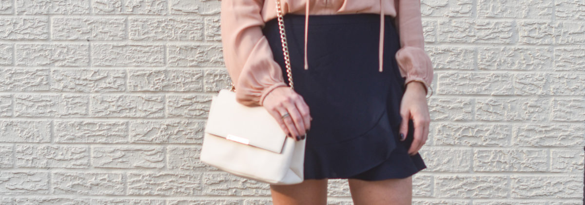 Fall Color Palette: Blush + Navy Ruffle Skirt