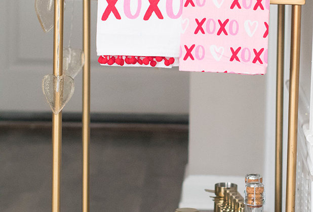 How to Style A Bar Cart: Valentine's Day